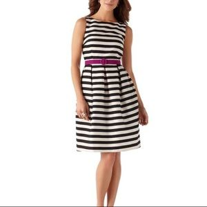 White House black market stripe fit & flare dress